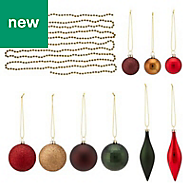 Gold, green & red Assorted Decoration, Pack of 25