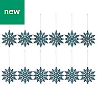 Blue Glitter effect Snowflake Decoration, Pack of 12