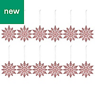 Pink Glitter effect Snowflake Decoration, Pack of 12