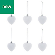 White Heart Decoration, Pack of 6