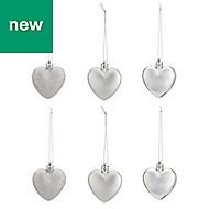 Silver Heart Decoration, Pack of 6