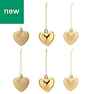 Gold Heart Decoration, Pack of 6