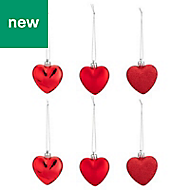 Red Heart Decoration, Pack of 6