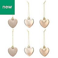 Champagne Heart Decoration, Pack of 6