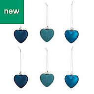 Blue Heart Decoration, Pack of 6