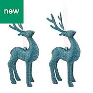Blue Glitter effect Reindeer Decoration, Pack of 2