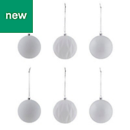 White Assorted Bauble, Pack of 6
