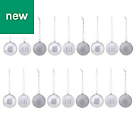 Silver Assorted Bauble, Pack of 18