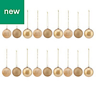 Gold Assorted Bauble, Pack of 18