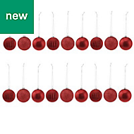 Red Assorted Bauble, Pack of 18