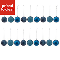 Blue Assorted Bauble, Pack of 18