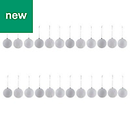 White Assorted Bauble, Pack of 24
