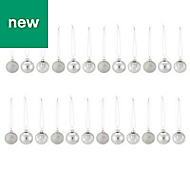 Silver Assorted Bauble, Pack of 24
