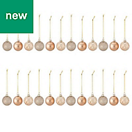 Champagne Assorted Bauble, Pack of 24