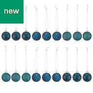 Blue Assorted Bauble, Pack of 24