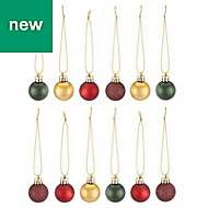 Green, gold, purple & red Assorted Bauble, Pack of 12