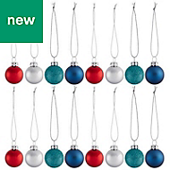 Blue, red & silver Assorted Bauble, Pack of 12