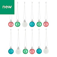Blue, green, pink & white Assorted Bauble, Pack of 12