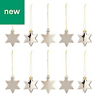 Champagne Star Decoration, Pack of 10