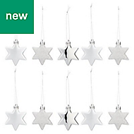 Silver Star Decoration, Pack of 10
