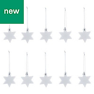 White Glitter effect Star Decoration, Pack of 10