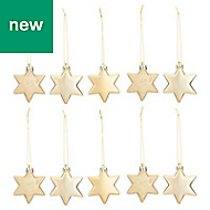 Gold Star Decoration, Pack of 10