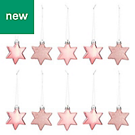 Pink Star Decoration, Pack of 10