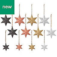 Multicolour metal Star Decoration, Pack of 12