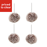 Grey Faux fur Bauble, Pack of 4