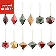 Multicolour Distressed effect Diamond facet baubles Decoration, Pack of 12