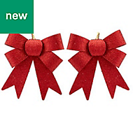 Red Glitter effect Bow Decoration, Pack of 2