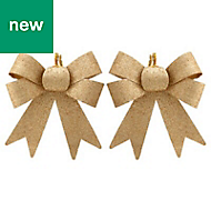 Gold Glitter effect Bow Decoration, Pack of 2