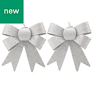 Silver Glitter effect Bow Decoration, Pack of 2