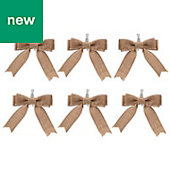 Hessian Bow Decoration, Pack of 6