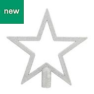Silver Glitter effect Star Tree topper