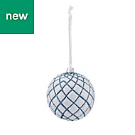 Blue & white Glitter effect Bauble