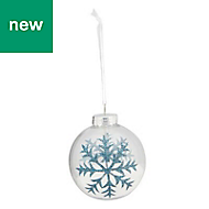 Blue Glitter effect Snowflake Bauble