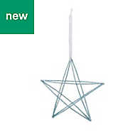 Blue Glitter effect Wire star Decoration