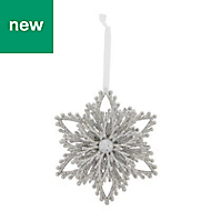 Silver Glitter effect Snowflake Decoration