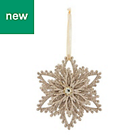 Champagne Glitter effect Snowflake Decoration