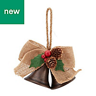 Brass Distressed effect Bells & hessian bow Decoration