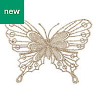 Champagne Glitter effect Butterfly Decoration