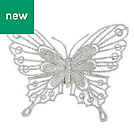 Silver Glitter effect Butterfly Decoration