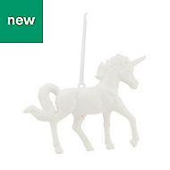 White Glitter effect Unicorn Decoration