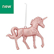 Peach whip Glitter effect Unicorn Decoration