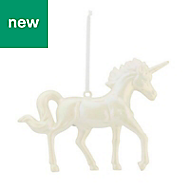 White Iridescent effect Unicorn Decoration