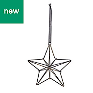 Black Distressed effect Wire star Decoration