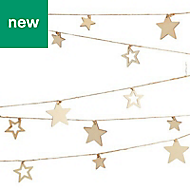 3m Wooden star Garland