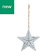 Silver Distressed effect Star Decoration