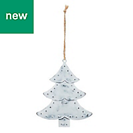 Silver Distressed effect Tree Decoration